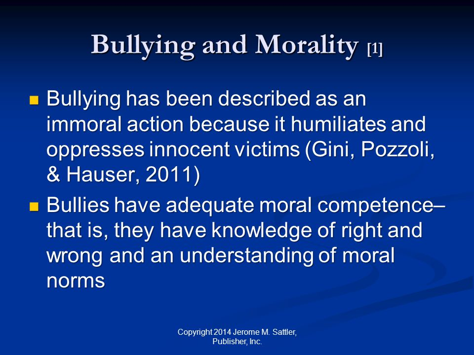 Bullying and Morality [1]